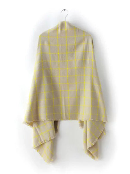 Beige Plaid Eyelash Fringe Shawl Scarf