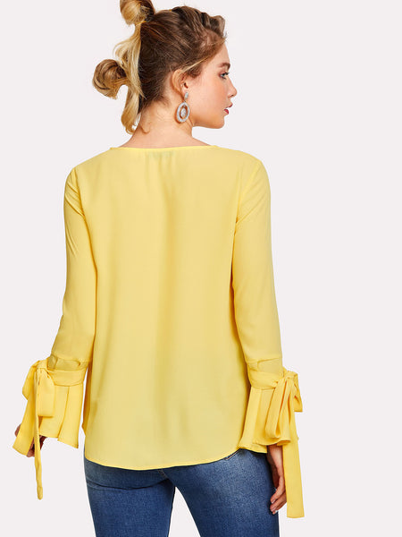 Yellow Pearl Embellished Bow Tied Bell Cuff Blouse