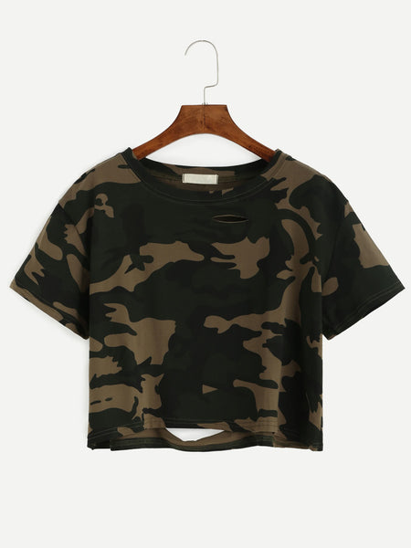 Multicolor Camo Print Distressed Crop Tee