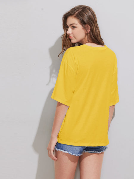 Yellow Drop Shoulder Letters Print Tied Front Tee