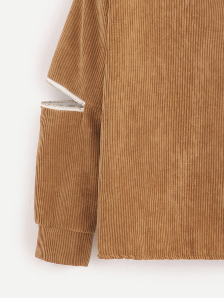 Khaki V Cut Choker Neck Zipper Detail Corduroy Sweatshirt