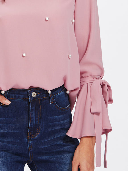 Pink Pearl Embellished Bow Tied Bell Cuff Blouse
