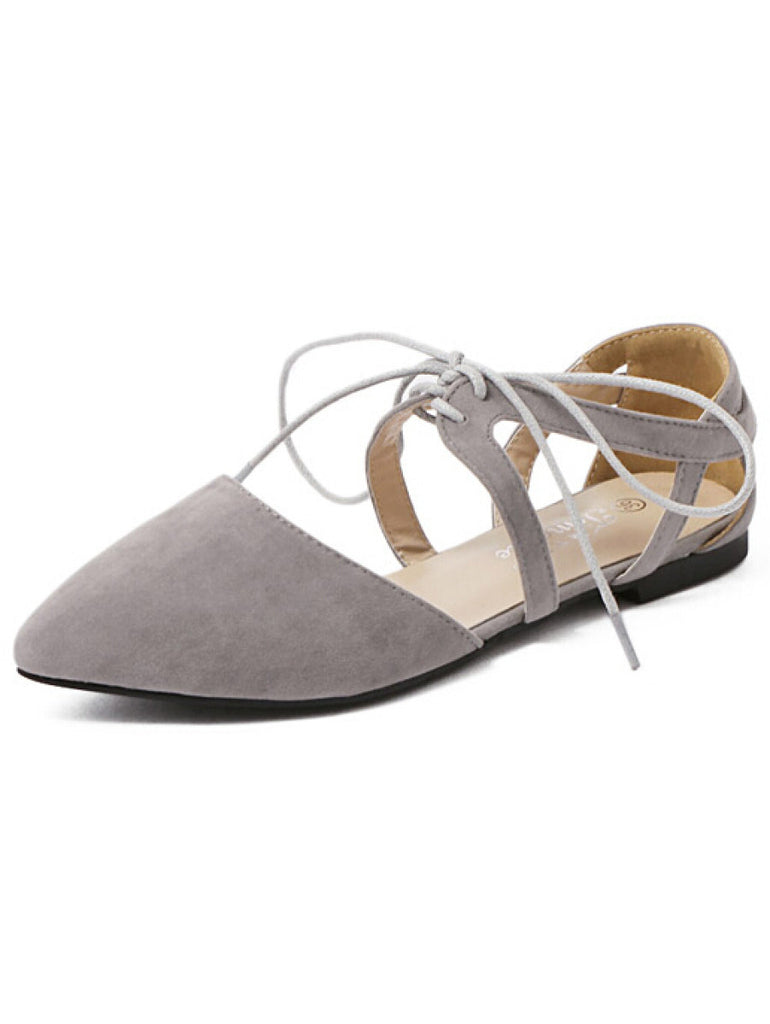 Grey Cutout Lace-Up D'orsay Flats