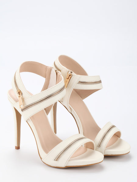 Zipper Embellished Strappy Sandals - Beige