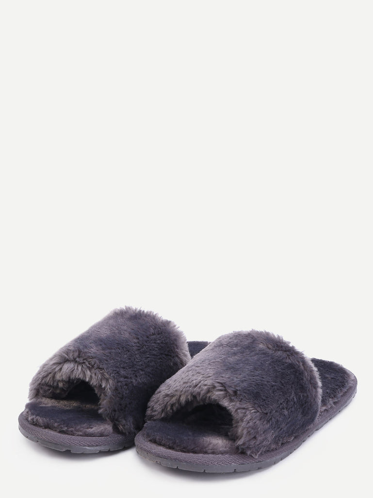 Grey Faux Fur Flat Slippers