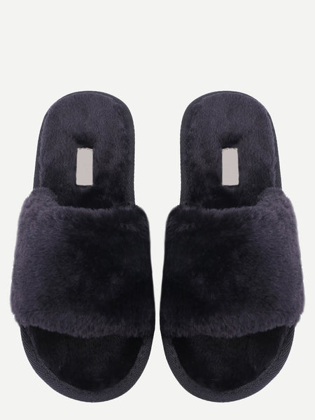 Black Faux Fur Flat Slippers