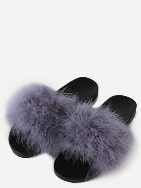 Grey Faux Fur Soft Sole Flat Slippers