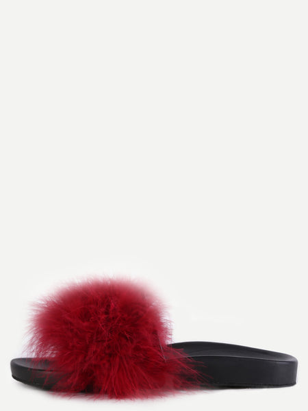 Burgundy Faux Fur Soft Sole Flat Slippers