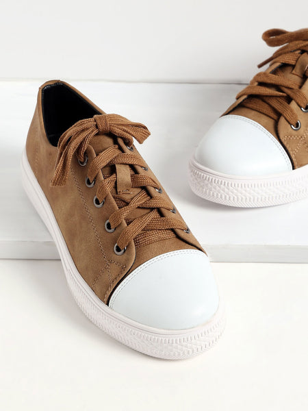 Khaki Lace Up PU Low Top Sneakers