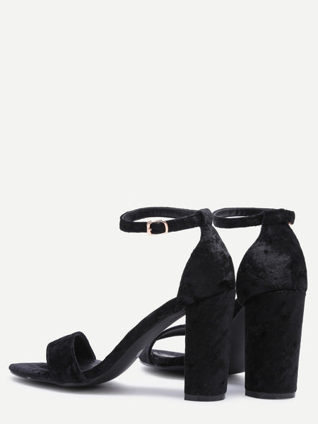 Black Velvet Peep Toe High Heel Mary Jane Shoes