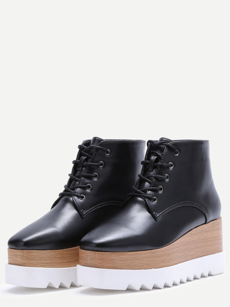 Black Lace Up PU Square Toe Platform Ankle Boots