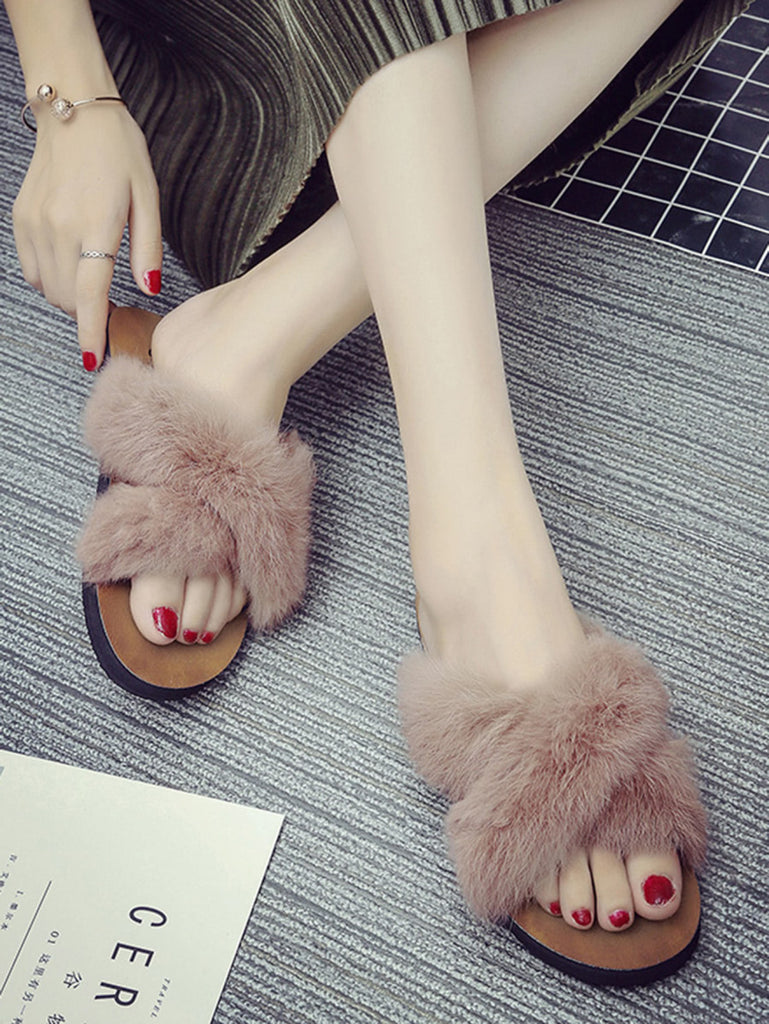 Faux Fur Criss Cross Slippers