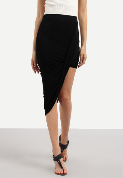 Black Asymmetrical Sheath Skirt