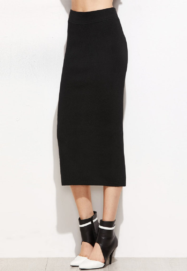 Black Knit Slit Back Skirt