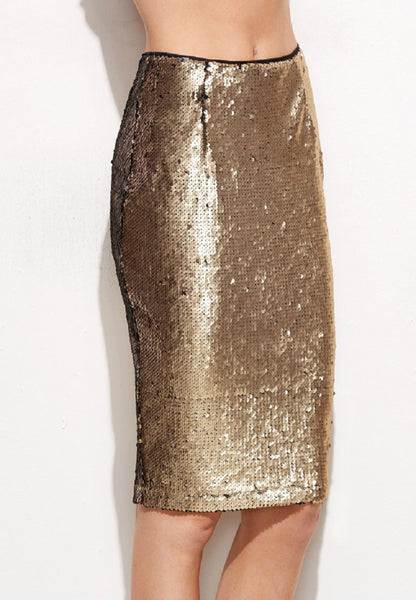 Gold Sequin Pencil Skirt