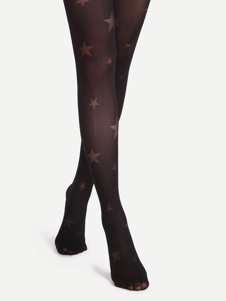 Black Star Pattern Sheer Pantyhose Stockings