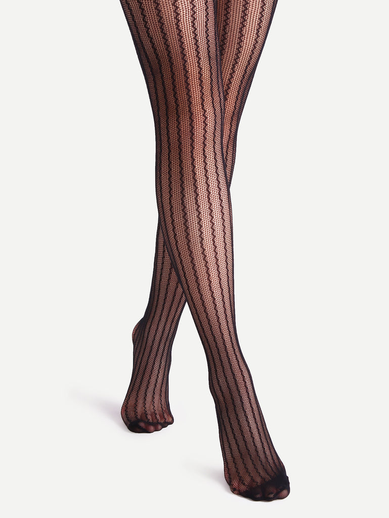 Black Hollow Striped Sexy Stretch Pantyhose Stockings