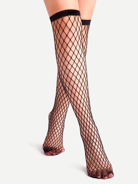 Black Fishnet Hollow Out Semi High Socks
