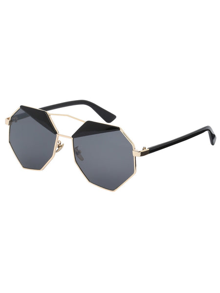 Golden Frame Grey Lenses Polygon Sunglasses