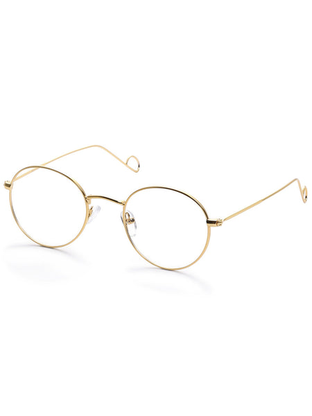 Gold Round Frame Metallic Arms Sunglasses