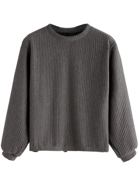 Ribbed Knit Sweatshirt