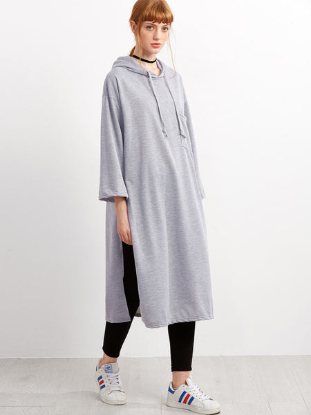 Side Split Hooded Longline Sweatshirt