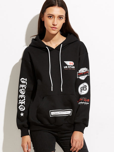 Drop Shoulder Printed Hooded Sweatshirt With Pocket