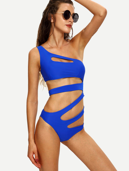 One-Shoulder Cutout Strappy One-Piece Swimwear