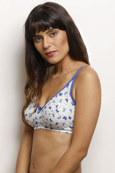 Rosaline Cotton Rich Printed Wirefree Bra- White N Print