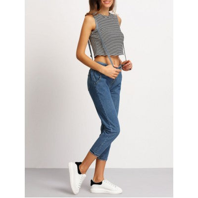 Strap Pockets Denim Pant
