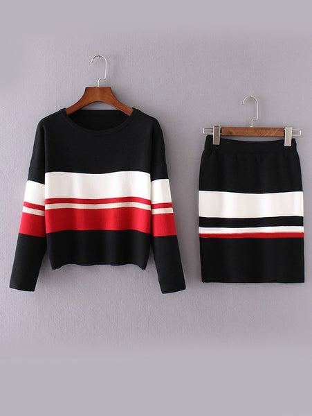 Zere Souq Black Color Block Drop Shoulder Sweater With Skirt
