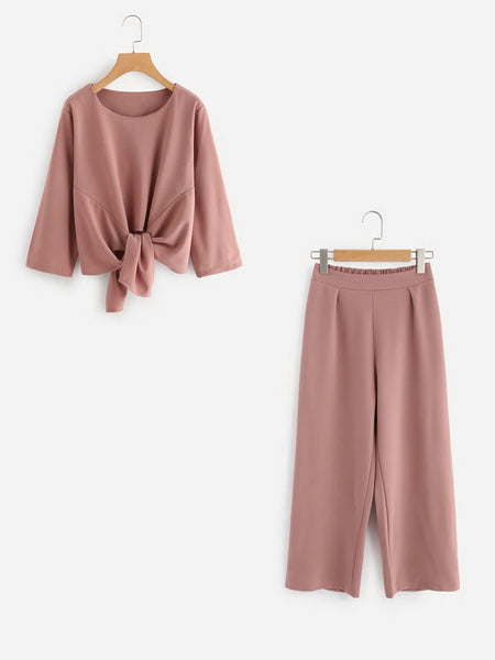 Zere Souq Knot Front Top With Pants Set