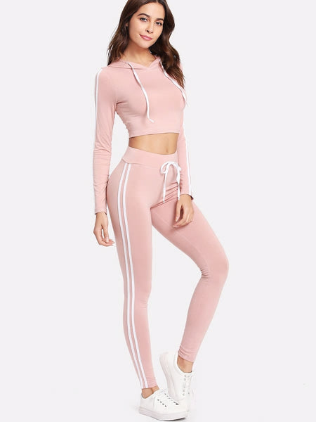 Zere Souq Striped Side Crop Hoodie With Sweatpants Set