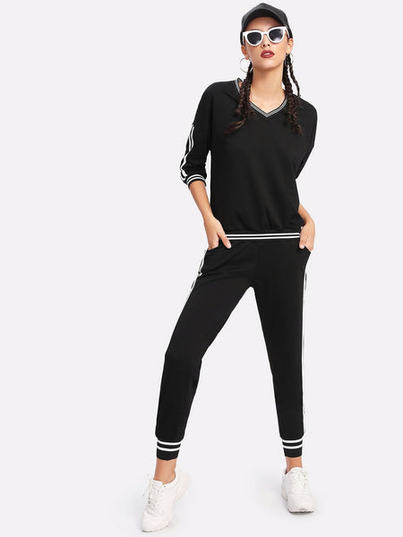 Zere Souq Stripe Contrast Side Sweatshirt And Pants