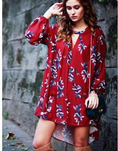 Oxblood Baggy Long Sleeve Floral Flowery Dress
