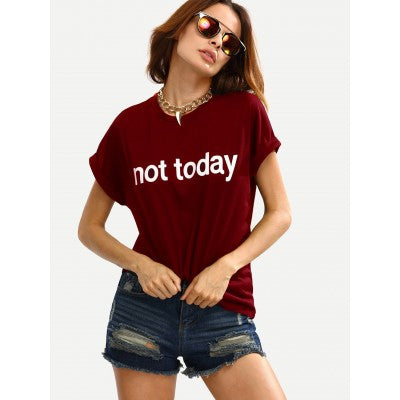 Burgundy Slogan Print Cuffed T-Shirt