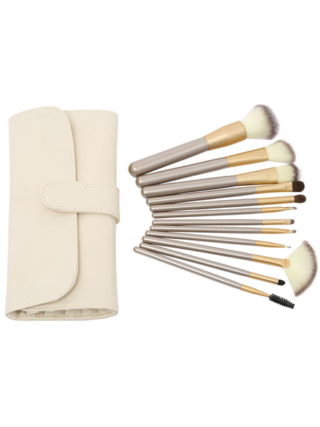 12PCS Make Up Bush Set With Bag - Beige
