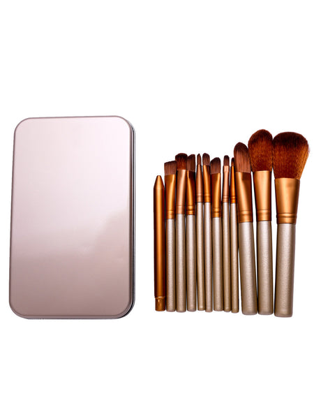 12PCS Gold Professional Makeup Brush Set With Metal Box