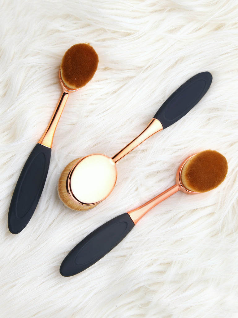 Rose Gold Toothbrush Makeup Brushe Set 3PCS