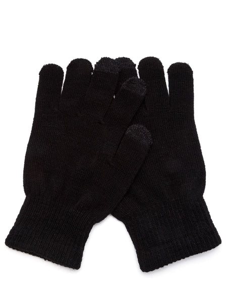 Black Knit Telefingers Gloves