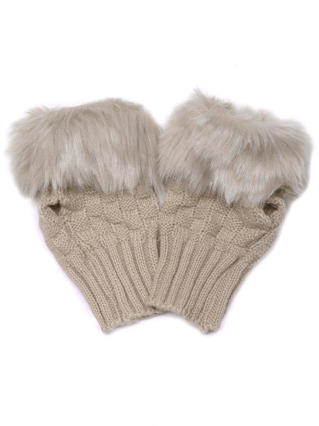 Khaki Faux Fur Texture Knitted Half-finger Gloves