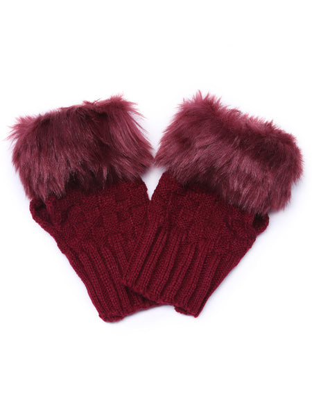 Burgundy Knitted Faux Fur Cuff Half-finger Handwarmmers