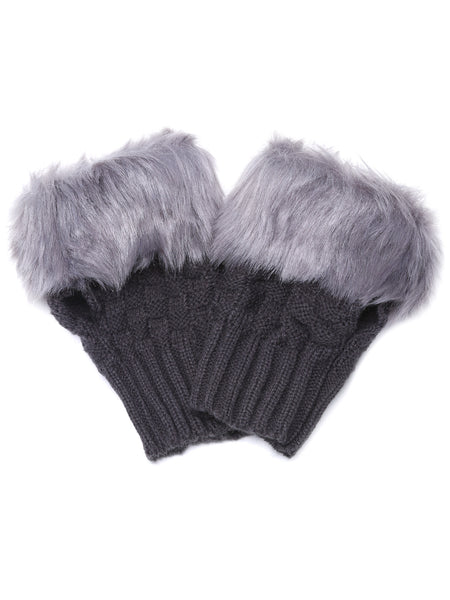 Dark Grey Knitted Faux Fur Cuff Half-finger Handwarmmers