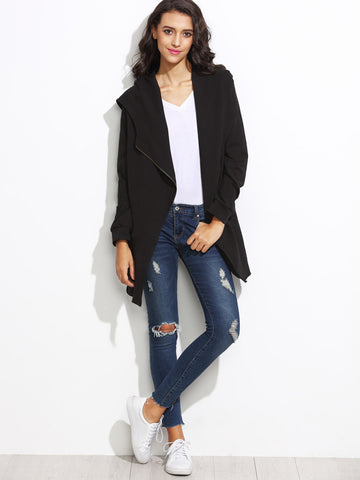 Black Hooded Asymmetric Zip Coat