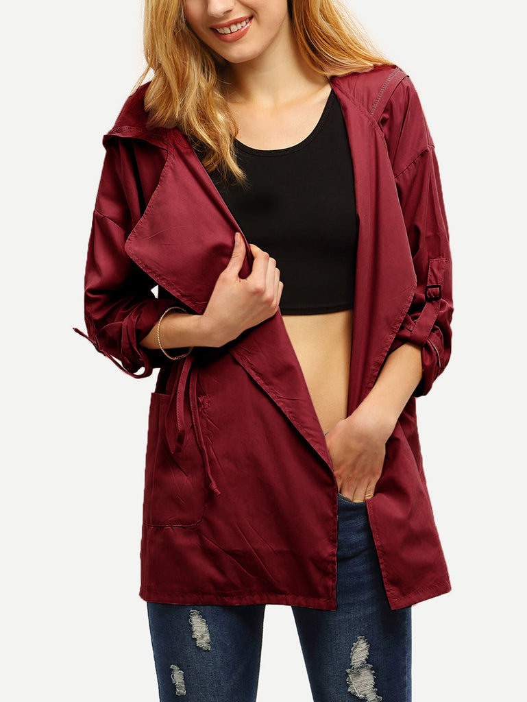 Roll Tap Sleeve Drawstring Hooded Coat