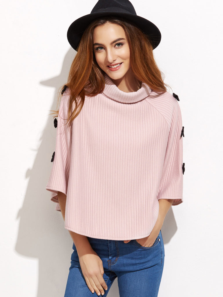 Pink Turtleneck Bows Trim Poncho Coat