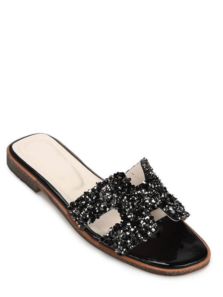 Open Toe Shining Rhinestone Slippers