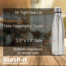 Diversion Water Bottle Can Safe | Stainless Steel Tumbler Safe by Stash-it | Bottom Unscrews to Store Your Valuables!