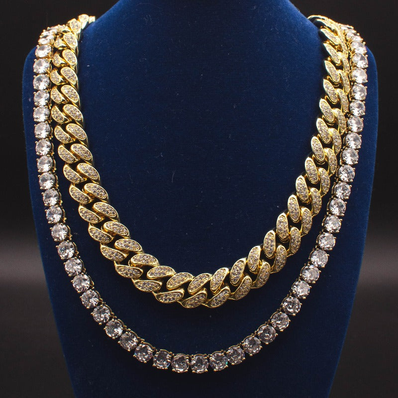 Diamond Cuban Link + Tennis Chain Bundle in White/Yellow Gold - The Jewelry Plug