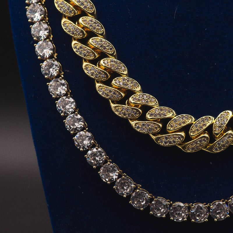 Diamond Cuban Link + Tennis Chain Bundle in White/Yellow Gold